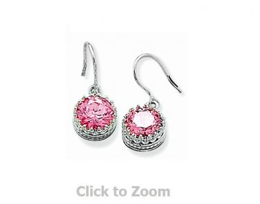 Sterling Silver Round Pink CZ French Wire Earrings 62993