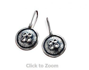 Sterling Silver Oxidized Button Design Hook Jewelry Earrings  64912
