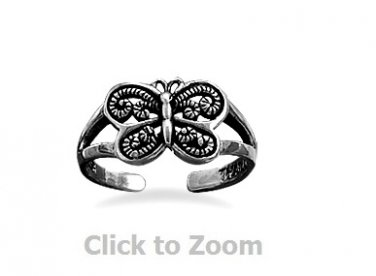 Adjustible Oxidized Sterling Silver Butterfly Toe Ring Body Jewelry  9907