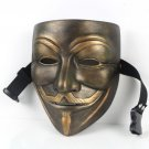 Resin V for Vendetta Bronze Mask Resin Anonymous Guy Fawkes Halloween Mask