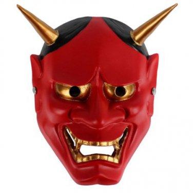 Red Halloween Cosplay Japanese Buddhist Hannya Evil Resin Mask
