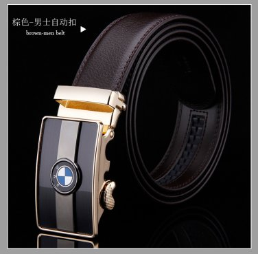 D&L Fashion  Mens Automatic Alloy BMW Buckle Leather Belt
