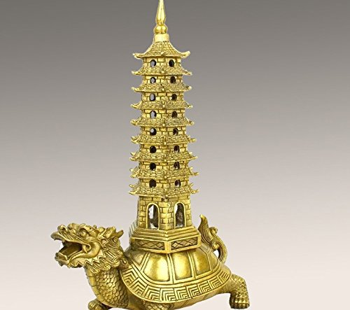 Master Handmade Brass Good Luck dragon turtle with Pagoda Statue for Collectible