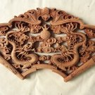 Master Handmade fan-shaped double Dragon pattern Wood carving Pendant for room