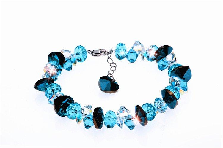 Master---Hand Sanding 925 Silver Austria Crystal Chain Bracelet