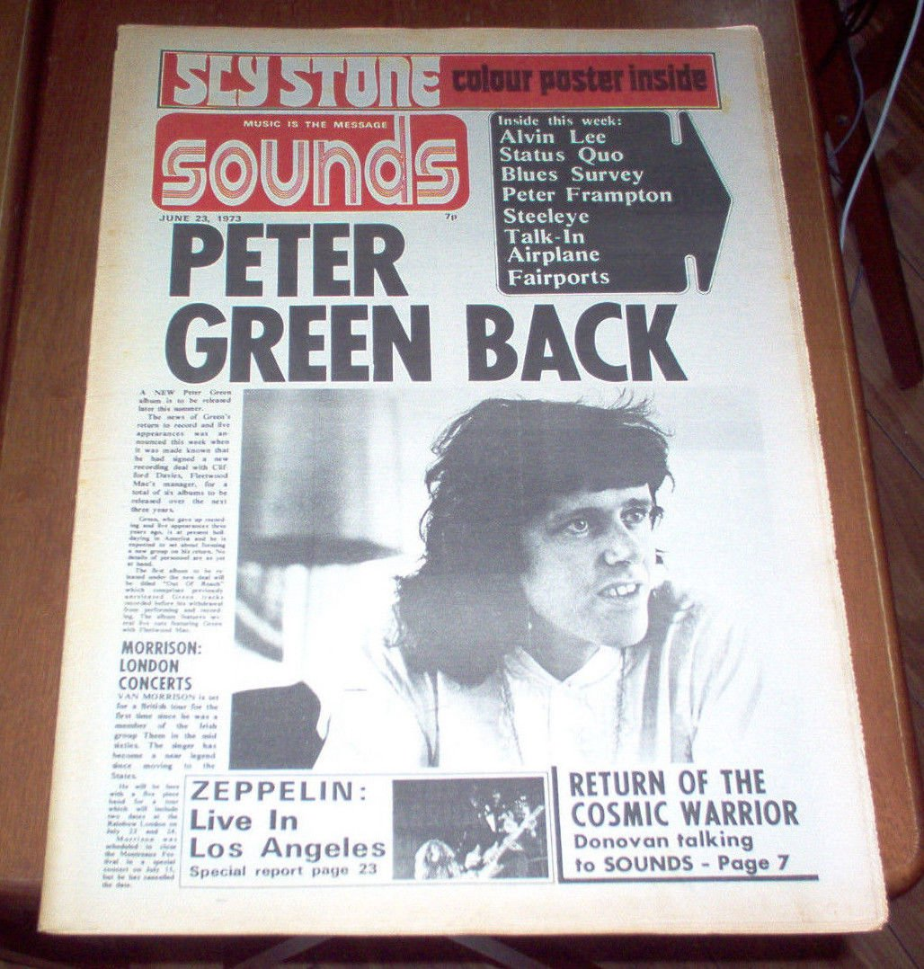 Sounds Magazine 1973 UK Led Zeppelin Status Quo Peter Frampton Sly Stone Poster