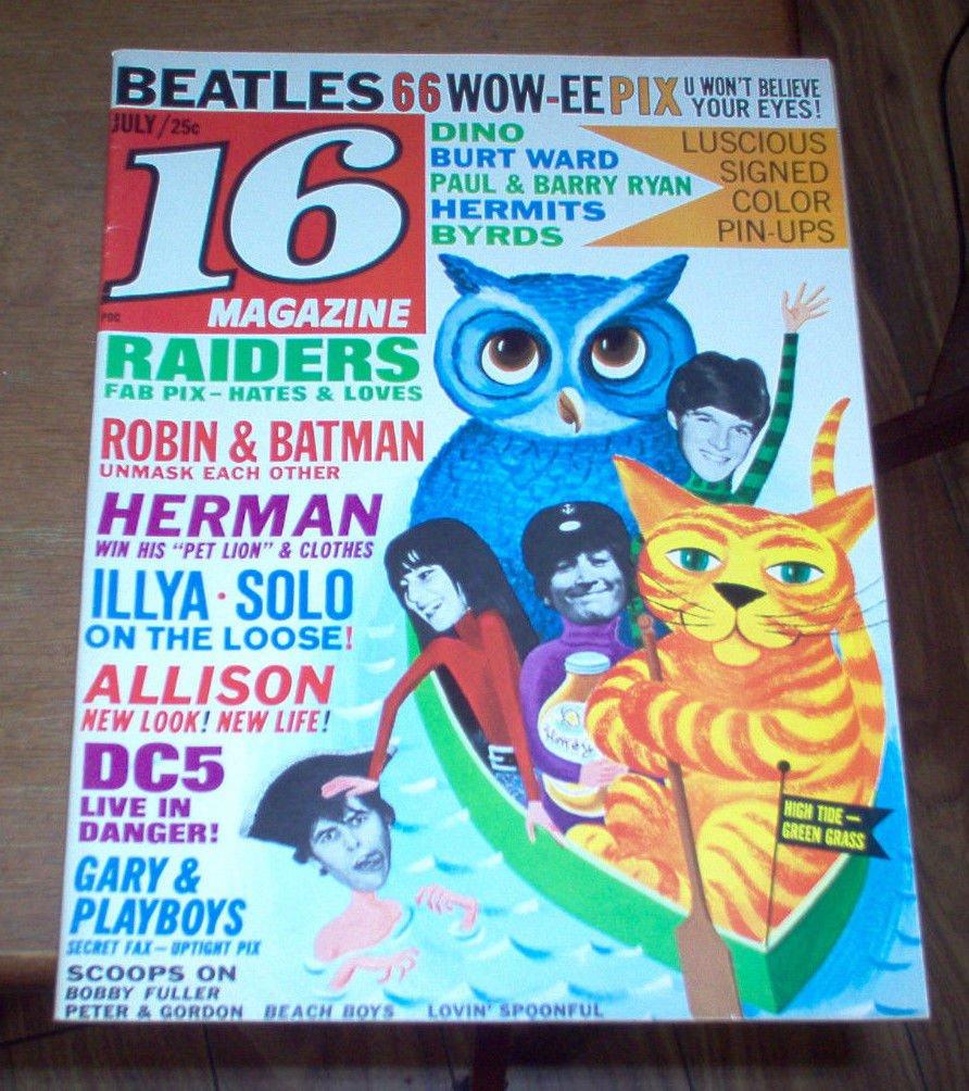 16 Magazine 1966 The Beatles Byrds Bobby Fuller Brian Jones Raiders Batman