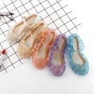 2019 Girls Summer Crystal Sandals Frozen Princess Jelly High-Heeled Shoes