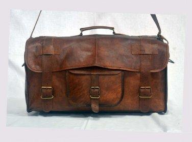 Real Goat Leather Handmade Duffle Bag Gym Brown Bag Rucksack Travel Luggage Bag
