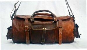 Real Leather Handmade Luggage Travel Bag Weekend Overnight Duffle Gym Brown Bag