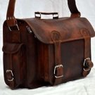 Real Vintage Leather Messenger Camera Bag Handmade Genuine Brown Bag Briefcase