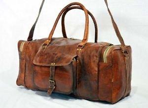 Real Goat Leather Handmade Travel Luggage Bag Rucksack Backpack Weekend Duffel