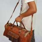 Real Goat Leather Handmade Brown Vintage Small Gym Duffle Travel Luggage Bag