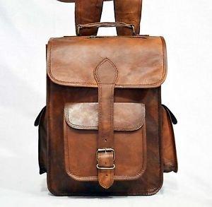 Real Leather Handmade Backpack Shoulder Bag Vintage Rucksack Brown School Bag