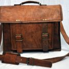 Handmade Real Leather Bag Satchel Sling Brown Briefcase Laptop Protection Bag