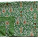 Twin Size Green Ikat Kantha Quilt Cotton Handmade Throw Bedsheet Bedspread