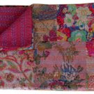 Indian Twin Size Handmade Reversible Patchwork kantha Quilt Bedcover Throw