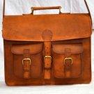 Real Genuine Leather Handmade Messenger Bag Laptop Satchel Bag Brown Purse