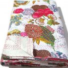 Queen Size Indian Cotton White Tropical kantha Quilt Handmade Bedspread Throw