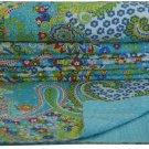 Handmade Queen Size Reversible Kantha Quilt Paisley Throw Bedspread Blanket