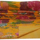 Queen Size Indian Yellow Floral Print Kantha Quilt  Bedcover Throw Bedspread