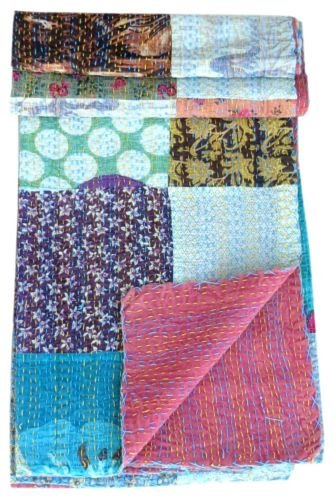 Twin Size Handmade Indian Reversible Kantha Quilt Bedcover Patchwork Throw
