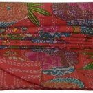 Indian Queen Size Red Tropical Kantha Quilt Reversible Throw Bedspread Ralli