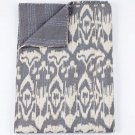 Indian Handmade Cotton Kantha Quilt  Queen Size Grey Reversible Bedcover Throw