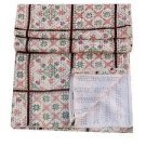 Queen Size Handmade Checked Pattern Kantha Quilt Reversible Bedspread Throw