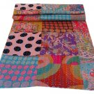 Indian Handmade Queen Size Reversible Bedcover Patchwork Kantha Quilt Throw