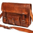 Real Handmade Leather genuine Messenger Bag Cross Body Laptop Briefcase Satchel