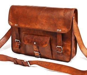 Real Handmade Leather genuine Messenger Bag Cross Body Laptop Briefcase Satchel