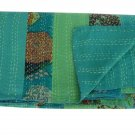 Queen Size Handmade Kantha Reversible Striped Quilt Bedcover Home Decor Throw