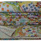 Twin Size Handmade Reversible Cotton Kantha Bed Cover Paisley Throw Kantha Quilt