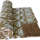 Indian Twin Size Brown Ikat Kantha Quilt Handmade Cotton Throw Bedspread Ralli