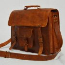 Real Genuine Vintage leather Messenger Bag Cross Body Satchel Brown Bag Satchel