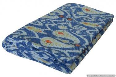 Handmade Ikat Kantha Quilt Blue Multicolor Cotton Throw Queen Size Bedsheet