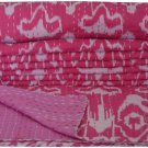 Indian Handmade Cotton Kantha Quilt Pink Ikat Kantha Bedcover Queen Size Throw