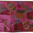 Indian Pink Tropical Kantha Quilt Reversible Handmade Throw Queen Size Bedcover