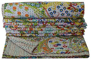 Queen Size Handmade Reversible Kantha Quilt White Paisley Throw Bedspread Ralli