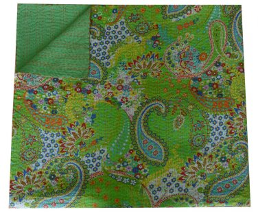 Indian Handmade Green Paisley Cotton Kantha Quilt Reversible Queen Size Throw