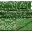 Indian Queen Size Handmade Green Ikat Kantha Quilt Cotton Throw Bedspread Ralli
