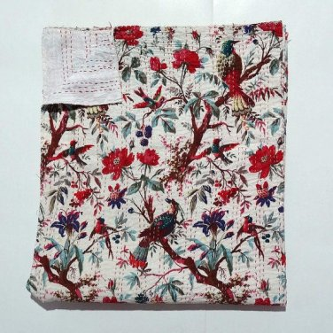 Indian Twin Size White Bird of Paradise Kantha Quilt Reversible Throw Bedspread