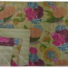 Indian Queen Size Beige Tropical Kantha Quilt Reversible Bedspread Throw Ralli