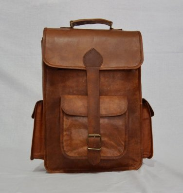 Real Leather Genuine Vintage Backpack handmade Messenger Rucksack Shoulder Bag