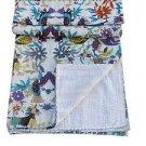 Queen Size Handmade Bird Print Kantha Quilt Reversible Bedspread Throw Ralli