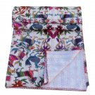 Queen Size Handmade Bird Print Kantha Quilt Reversible Bedspread Floral Throw