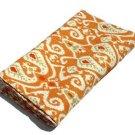 Queen Size Indian Handmade Yellow Ikat kantha Quilt Reversible Bedspread Throw