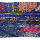 Indian Handmade Twin Size Blue Tropical Kantha Quilt Reversible Bedcover Ralli