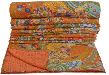 Queen Size Indian Reversible Kantha Quilt Handmade Paisley Throw Bedspread Ralli